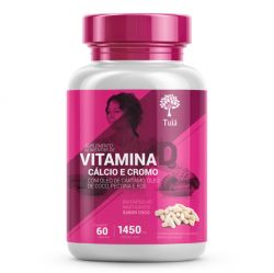 Vitamina D + Cálcio e Cromo com Óleo de Cártamo, Coco, Pectina e FOS